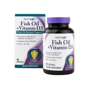 Fish Oil + Vitamin D3 Natrol 90 гелиевых капсул